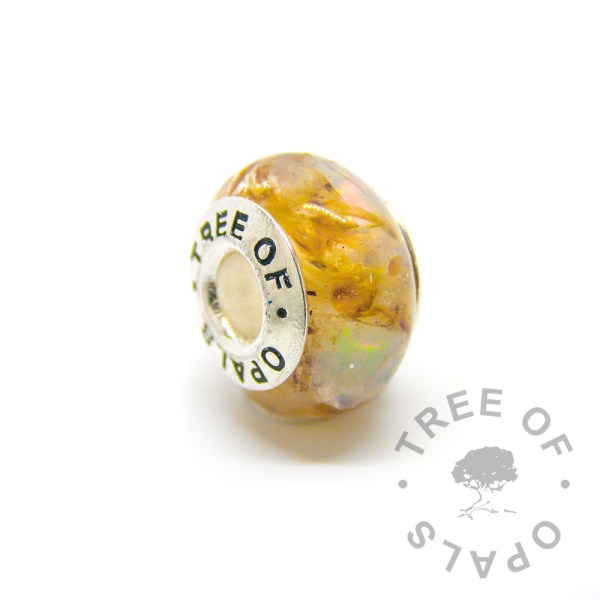 umbilical cord charm with genuine opal October birthstone