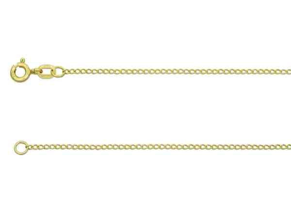 This 9 Carat Yellow Gold Curb chain is ideal for showcasing small pendants and charms. This Curb chain is 1.5mm wide and each link is approximately 2.1mm in length and features a bolt ring fastener. Due to the finished weight, the chain is supplied with a UK hallmark. This style can also be known as 12/18 Curb.
