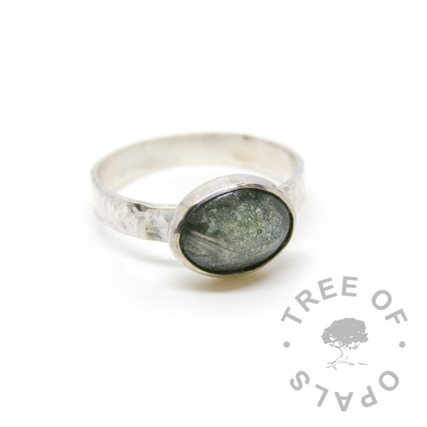 "memorial ring, grey hair and basilisk green sparkles on a textured 3mm wide solid sterling silver band and 10x8mm cabochon ""stone"" Tree of Opals"