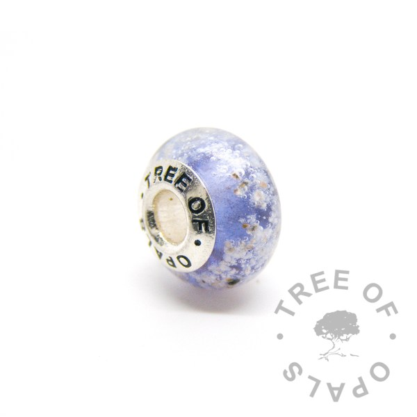 blue glass cremation charm set with solid sterling silver Tree of Opals core