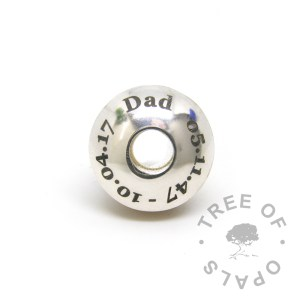 laser engraved charm washer with text (dates changed for privacy) for resin and lampwork charm beads and Pandora bracelets. Stoppers recommended to secure