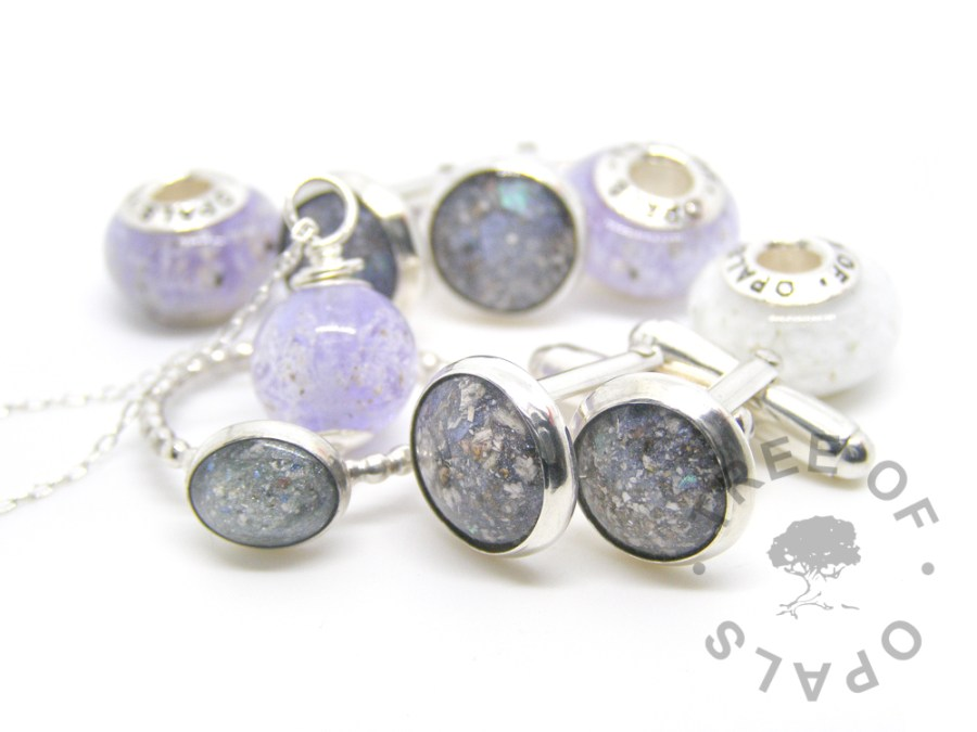 Glass or Resin Cremation Ash Jewellery family order cremation ash cufflinks in Aegean blue resin, ring in mermaid teal resin, glass cremation necklace and charms Tree of Opals