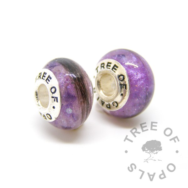 orchid purple hair charm duo for Pandora bracelets by Tree of Opals