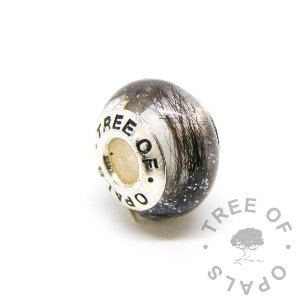 lock of hair charm subtle white shimmer crystal clear resin and Tree of Opals core