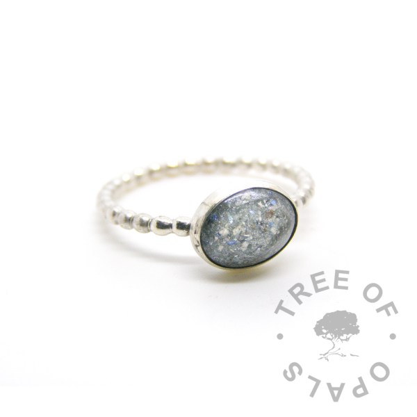 mermaid teal cremation ash ring, 2mm bubble wire band with 10x8mm resin cremation stone Tree of Opals