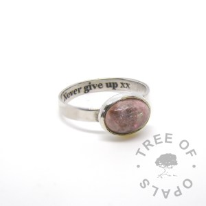 """laser engraved text inside brushed band cremation ring fairy pink sparkles in a 10x8mm cabochon """"stone"""" by Tree of Opals"""