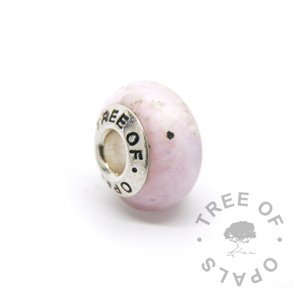 pink glass cremation charm set with solid sterling silver Tree of Opals core