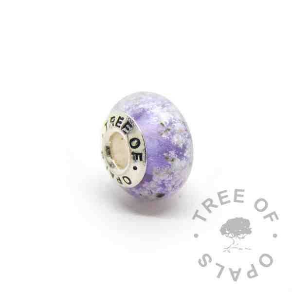 purple glass cremation charm set with solid sterling silver Tree of Opals core