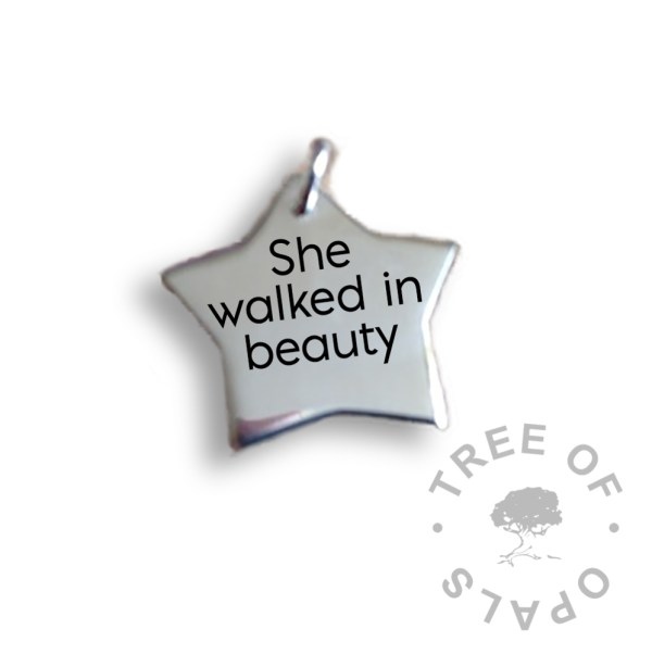 she walked in beauty laser engraved text star sterling silver engraved necklace mockup