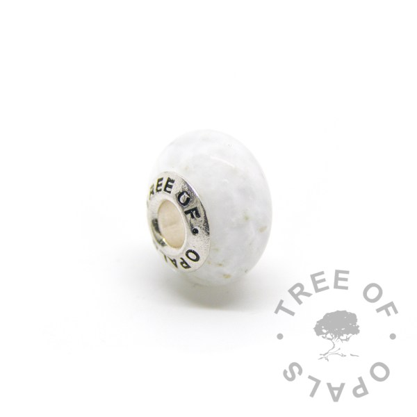 white glass cremation charm Tree of Opals ash bead