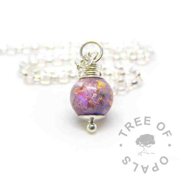 cremation ash pearl orchid purple gold leaf, 9mm pearl and chain upgrade, solid sterling silver setting handmade memorial necklace by Tree of Opals