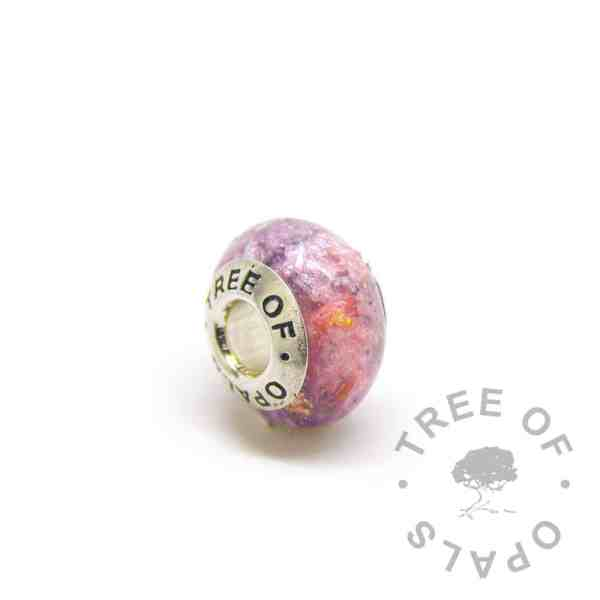 fairy pink cremation ash charm purple gold leaf and solid sterling silver Tree of Opals core