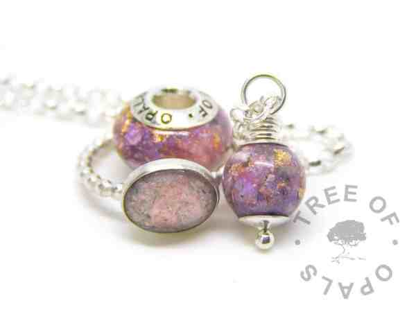fairy pink orchid purple cremation ash family order with a charm, ring and pearl