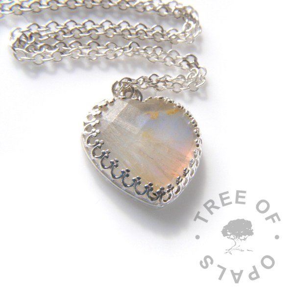 opal clear lock of hair heart necklace with fur, October birthstone genuine opal slice Tree of Opals