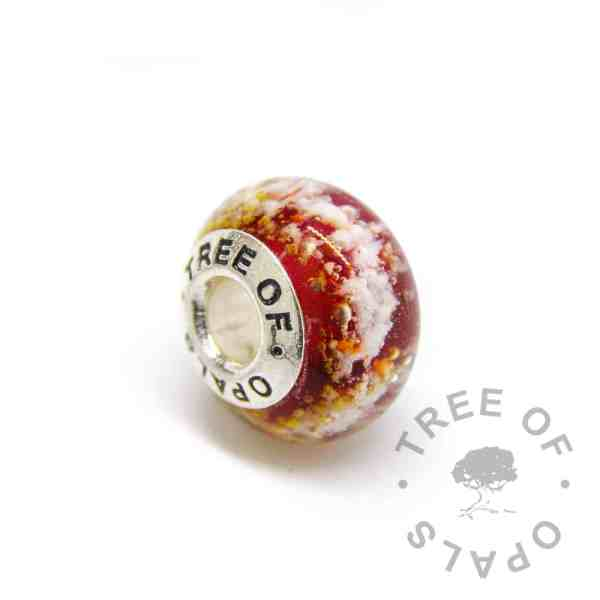 red glass ash charm bead, solid sterling silver core for Pandora bracelets, memorial jewellery by Tree of Opals