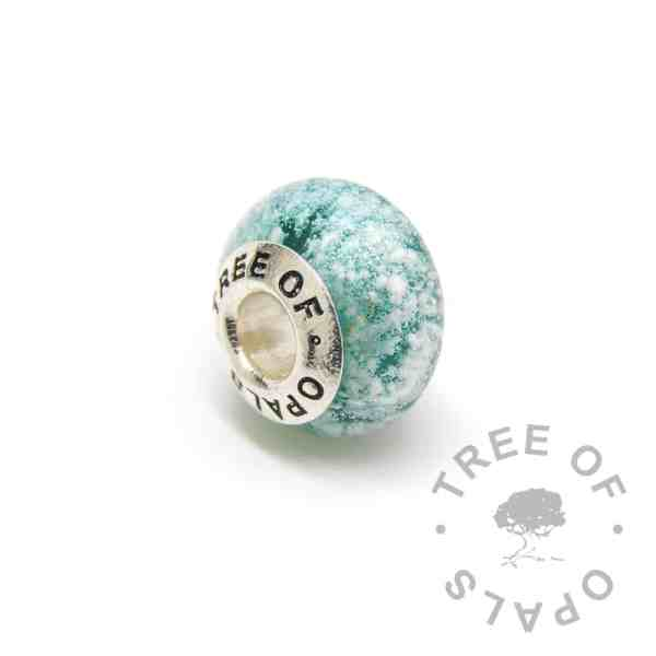 teal glass cremation charm ashes, solid sterling silver core for Pandora bracelets, memorial jewellery by Tree of Opals