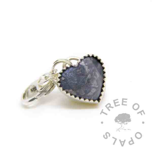 cremation ash heart charm lobster claw classic resin Aegean blue sparkle mix