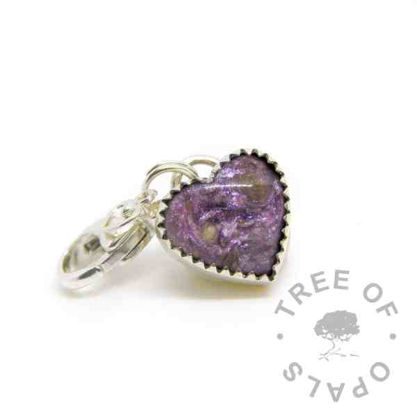 cremation ash heart charm lobster claw classic resin orchid purple sparkle mix