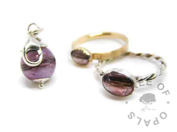 lock of hair family order fairy pink orchid purple, lock of hair pearl dangle charm for Thomas Sabo style bracelets, solid gold and sterling silver rings