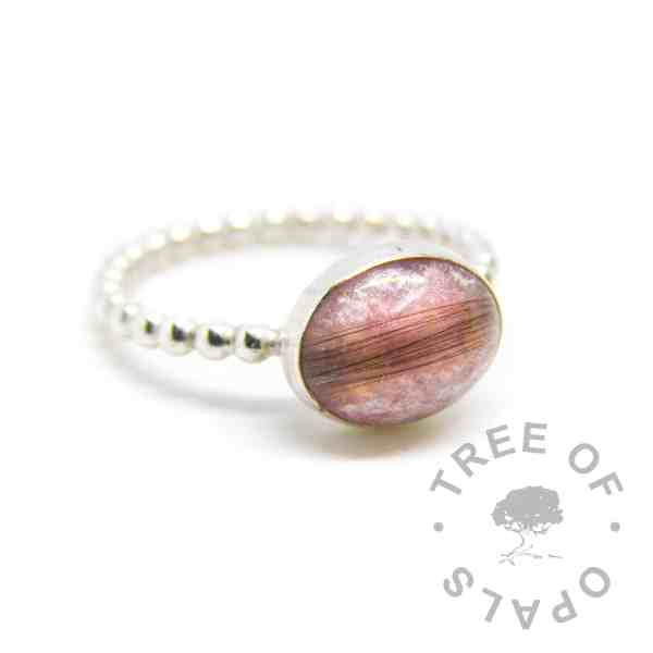 lock of hair ring fairy pink sparkle mix bubble wire band, no birthstones. Handmade by Tree of Opals memorial jewellery