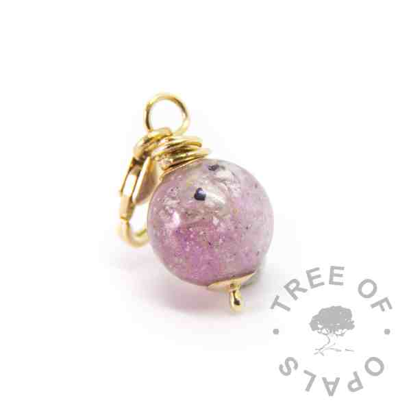 solid gold cremation ash dangle charm, 9ct gold hand wire wrapped pearl for Thomas Sabo style bracelets. Orchid purple sparkle mix and opal October birthstone, hand wire wrapped Tree of Opals design