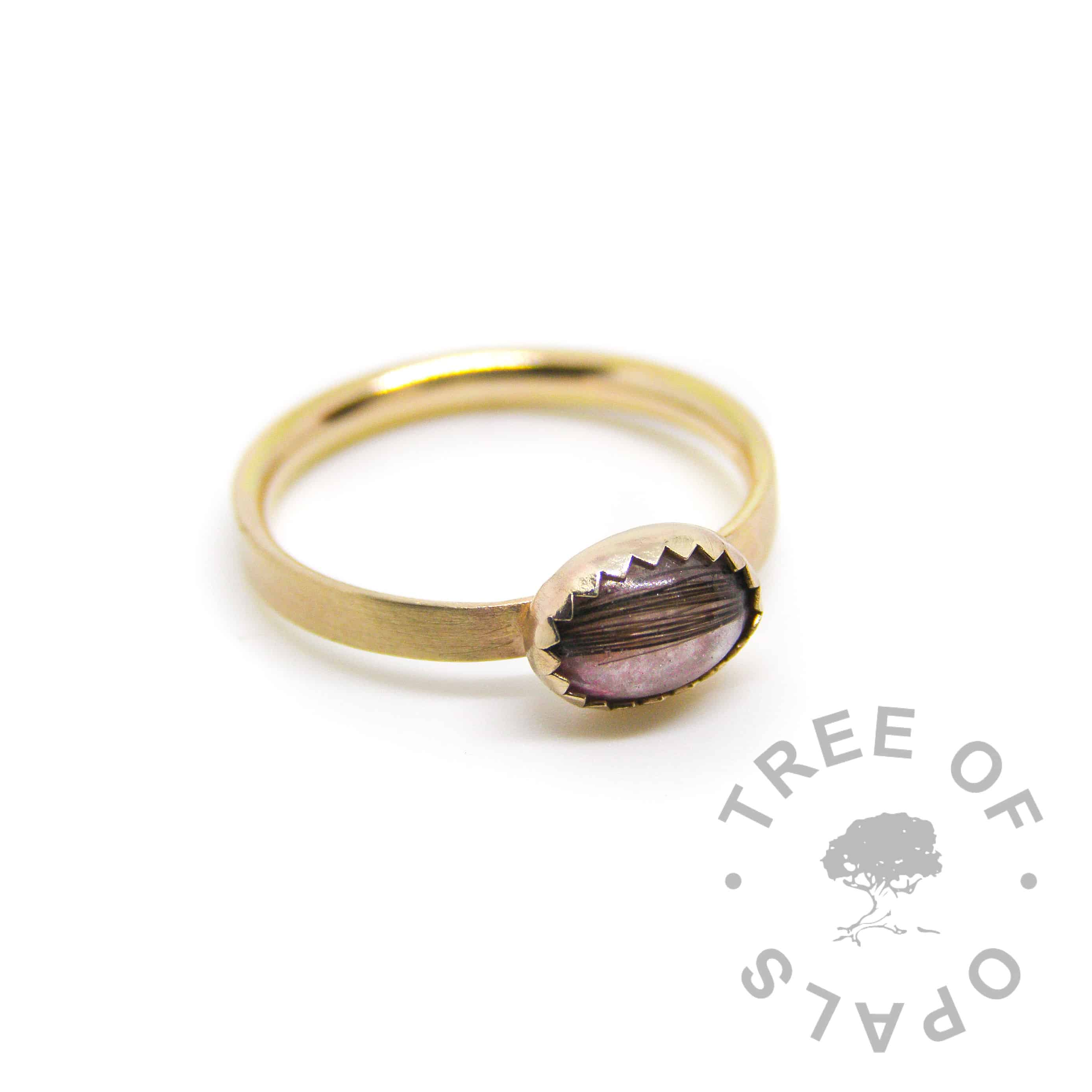 solid gold lock of hair ring brushed 14ct hallmarked yellow gold stacking ring, memorial hair with fairy pink sparkle mix in an 8x6mm cabochon handmade by Tree of Opals