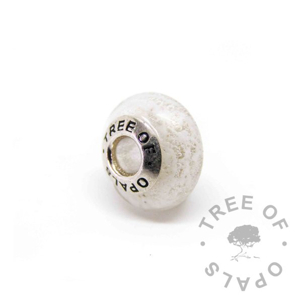 clear glass ash charm with solid sterling silver Tree of Opals core cremation ash bead Pandora