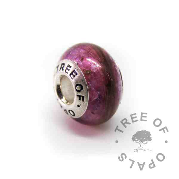 lock of hair umbilical cord charm orchid purple sparkle mix - first curl and placenta charm bead for Pandora bracelets