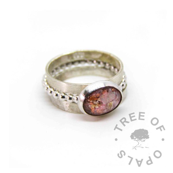 fairy pink sparkle mix, copper leaf and cremation ash ring on bubble band, textured and brushed band stack, 100% handmade from scratch memorial rings
