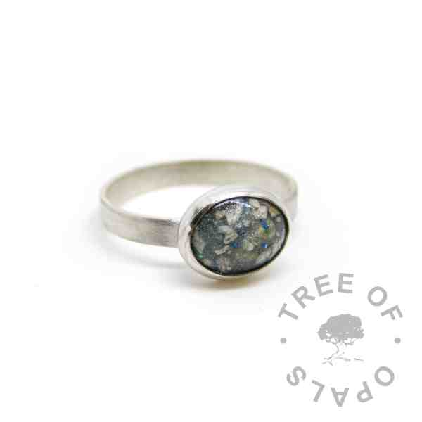 mermaid teal cremation ash ring on brushed 3mm wire band