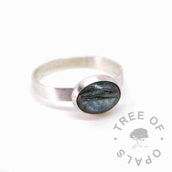 mermaid teal sparkle lock of hair ring, 3mm brushed band engraved with a name and date of birth. Handmade in solid sterling silver