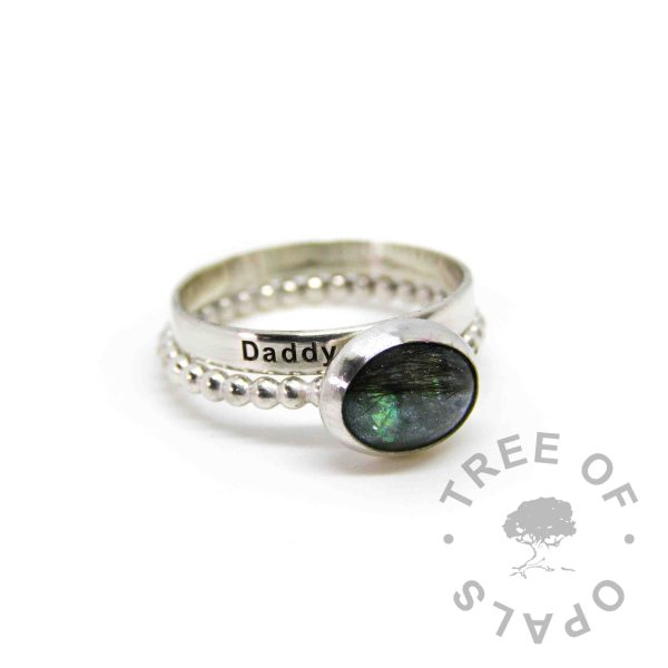 mermaid teal lock of hair ring on bubble wire band plus engraved stacker, memorial ring duo