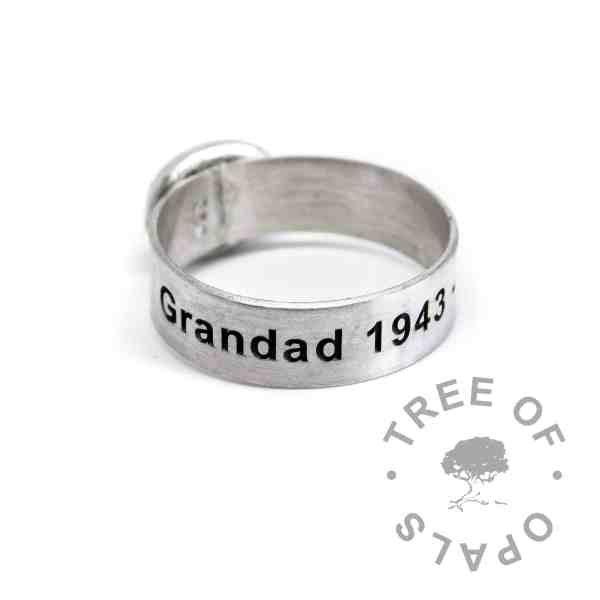 6mm brushed band ring engraved with a memorial name and dates