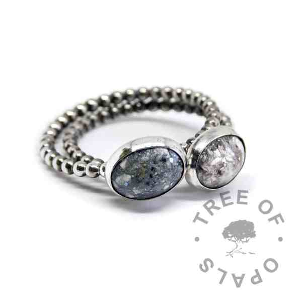 classic ash and aegean blue rings bubble wire, resin and ash set in solid silver