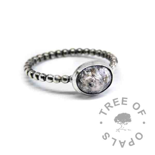 classic ash ring bubble wire, clear resin set in solid sterling silver. Handmade cremation ash ring