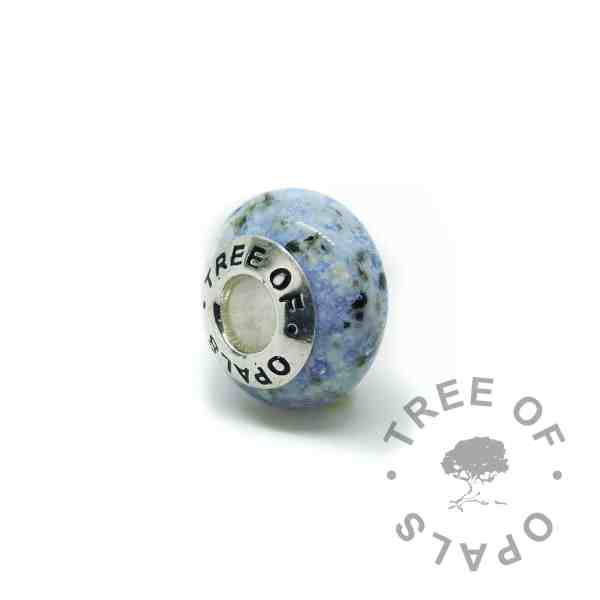 glass ash charm in blue (2). Handmade solid sterling silver charm beads for Pandora bracelets, memorial jewellery by Tree of Opals cremation ash charm glass ash bead
