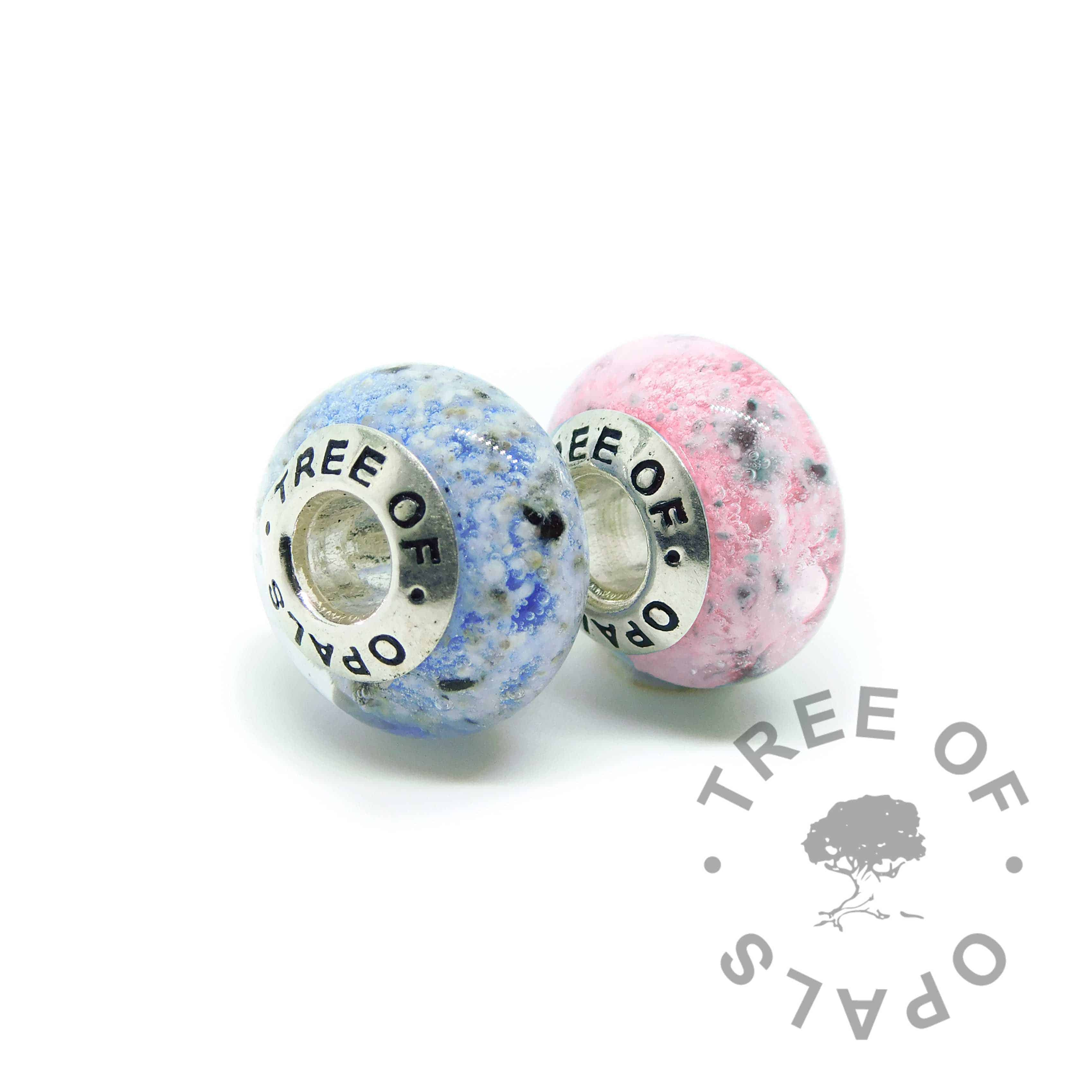 glass ash charm sets duo in blue and pink (colour mockup). Handmade solid sterling silver charm beads for Pandora bracelets, memorial jewellery by Tree of Opals