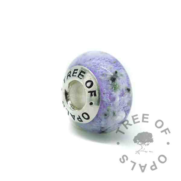 glass ash charm in purple (colour mockup). Handmade solid sterling silver charm beads for Pandora bracelets, memorial jewellery by Tree of Opals