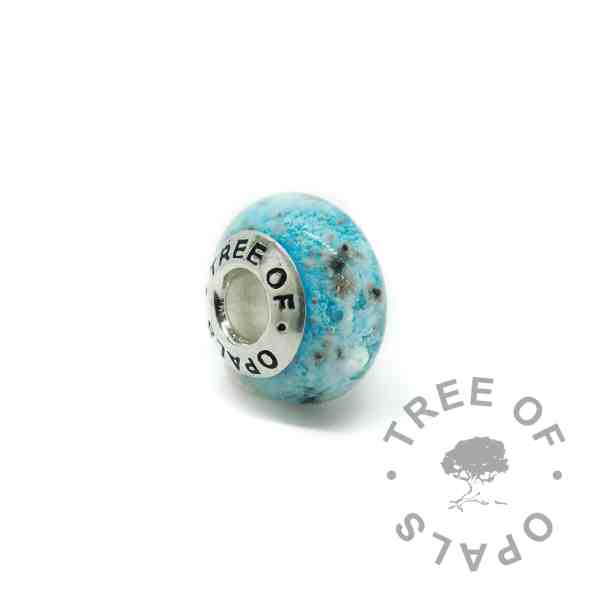 glass ash charm in teal (colour mockup). Handmade solid sterling silver charm beads for Pandora bracelets, memorial jewellery by Tree of Opals