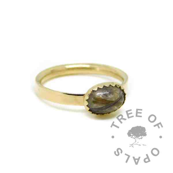 hair ring birthstones, two locks of hair and two birthstones unicorn white resin sparkle mix on shiny solid 14ct gold hallmarked band. Handmade solid gold memorial jewellery by Tree of Opals