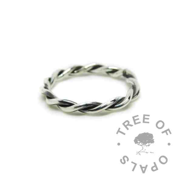 Antique silver patina effect twisted wire ring in solid sterling eco silver