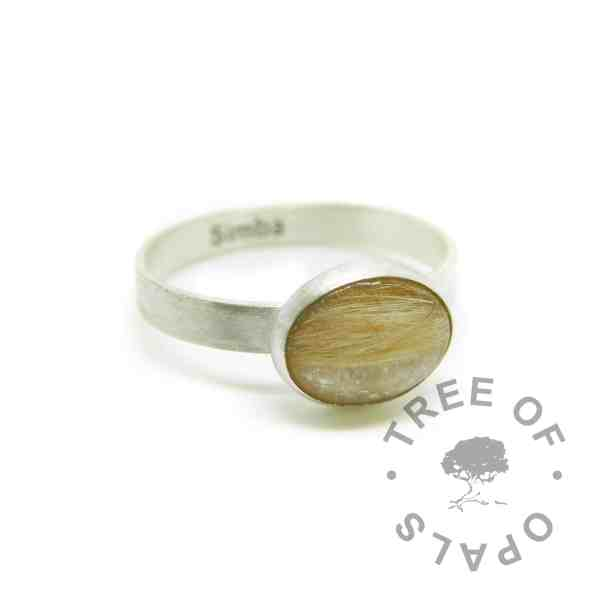 memorial jewellery engraved solid eco silver brushed band ring with ginger fur