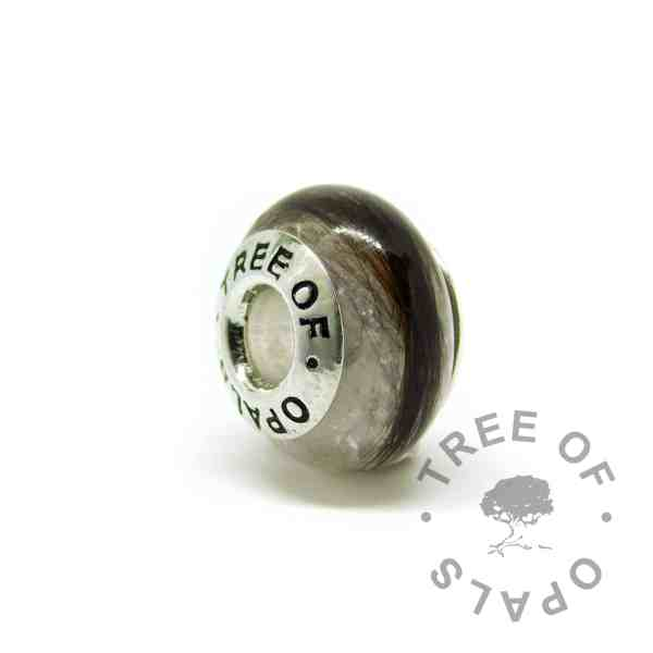 lock of hair charm unicorn white sparkle mix, solid silver Tree of Opals core