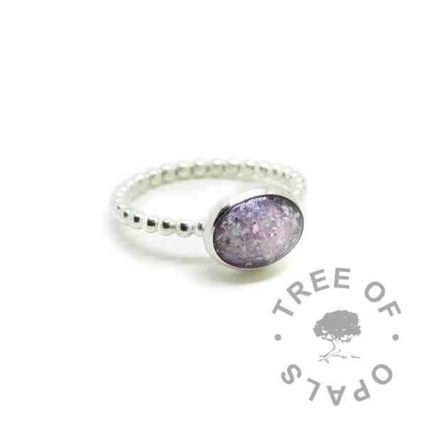 memorial jewellery unicorn white ash rings on bubble wire bands