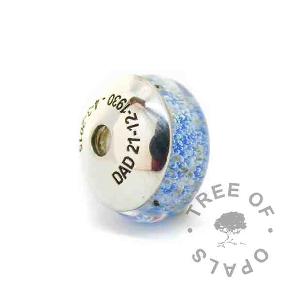 engraved charm washer glass ash charm