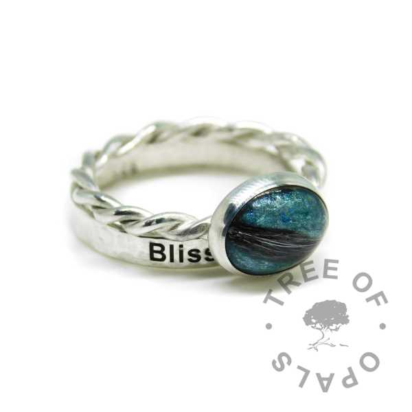 teal fur ring twisted band. Memorial ring from Tree of Opals with solid sterling EcoSilver band, and a textured engraved stacking ring with engraving on the outside in Arial font
