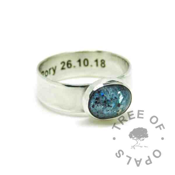 mermaid teal umbilical cord ring on 6mm shiny band. Solid 925 sterling EcoSilver handmade ring with engraved text on the inside of the band, in Arial font. 10x8mm bezel cup rubbed over the cabochon for security.