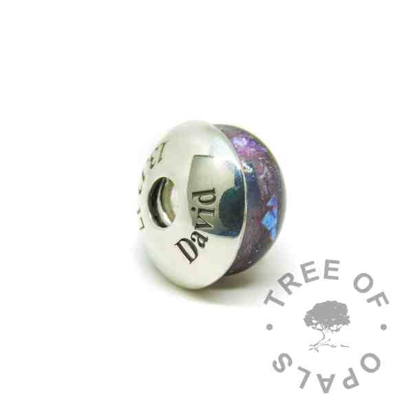 Engraved washer in Times New Roman font and September birthstone sapphire and orchid purple lock of hair memorial charm bead with a solid 925 sterling silver Tree of Opals core. Pressed core for security (not glued on). First curl bead hair charm for Pandora bracelets and necklaces. Washers not attached to charms
