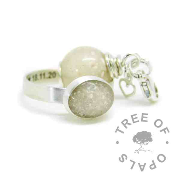 Engraved brushed band cremation ash ring and dangle charm pearl with unicorn white sparkle mix. Ring engraved inside in Arial font and hearts. Handmade solid sterling silver memorial family order