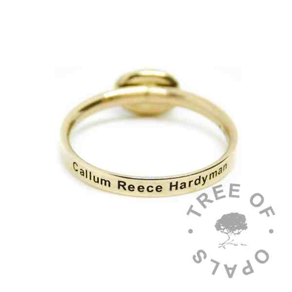 gold engraved ring 14ct with name. Minimum ring width 2mm, hallmarked solid gold band gold lock of hair ring